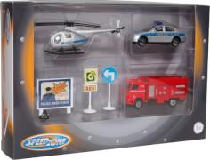 Speedzone Einsatzfahrzeuge mit Verkehrsschildern