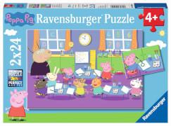 Ravensburger 09099 Puzzle: Peppa in der Schule, 2x24 Teile